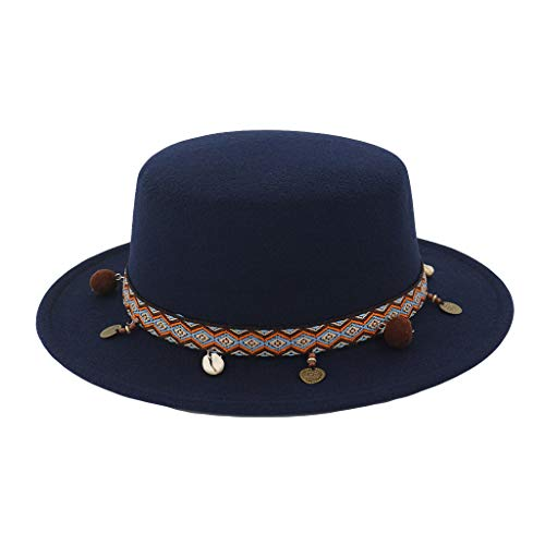 782f15f661762a XIAOJING Sommer Frauen Solide Sonnencreme Breiter Krempe Wollgürtel Filz  Flat Top Fedora Hut Party Kirche Trilby