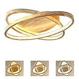 Holz 2-Ring LED-Deckenleuchte, Runde Dimmbar Deckenlampe, Modern Dekor Wohnzimmer-Lampe, Ultradünne Schlafzimmer Deckenlicht, inkl. Fernbedienung, Acryl-Schirm (Ø70cm-64Watt)