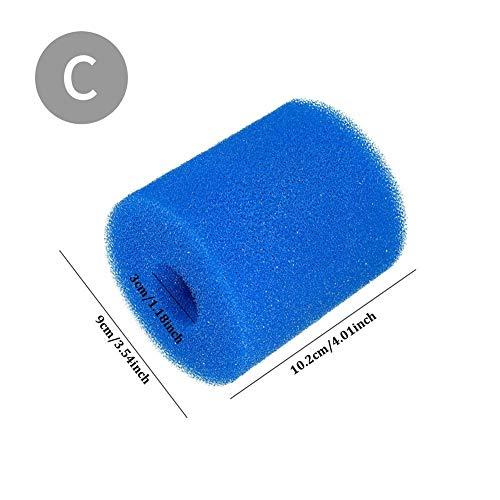 Krystallove Poolfilter-Schaumpatronenschwamm Geeignet für Intex ONE Filterpumpen, wiederverwendbarer waschbarer Schaumpatronenschwamm   3 Größen   Blau