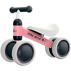 YGJT Draisienne Bébé 1 an Vélo Bébé 10-18 Mois Vélo Enfant sans Pédales Jouet Premier Cadeau Anniversaire pour Garçons Filles (Rose)