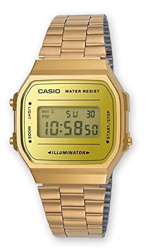 Casio Unisex Erwachsene Digital Quarz Uhr mit Edelstahl Armband A168WEGM-9EF