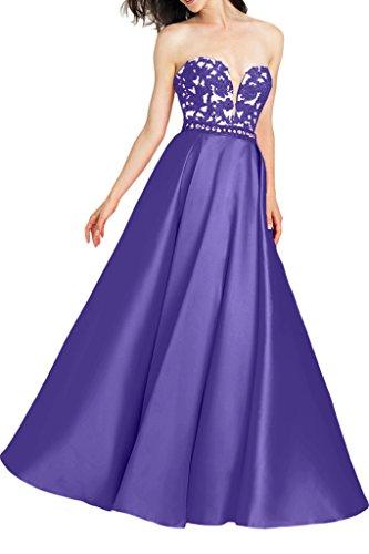 Milano Bride Herrlich Spitze Traegerlos Abendkleid Abiballkleider Applikation Bodenlang Lila