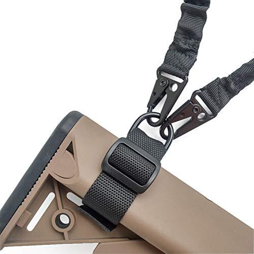 mifz 2 Stück Nylon Buttstock Sling Befestigungsgurt anpassen, um eine 1-Punkt-Schlinge oder 2-Punkt-Schlinge für Gewehr, Airsoft und Shotgun zu akzeptieren.