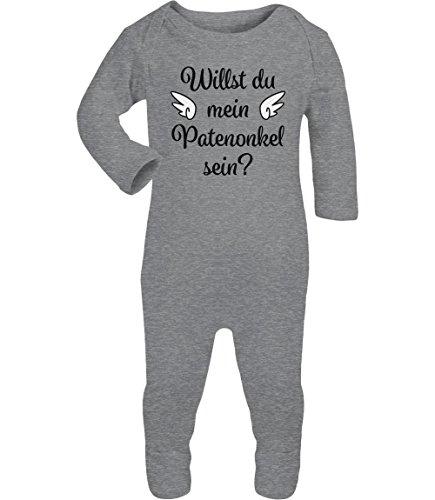 Geschenkidee - Willst du mein Patenonkel sein? Baby Strampler Strampelanzug 3-6 Monate (60/66) Grau