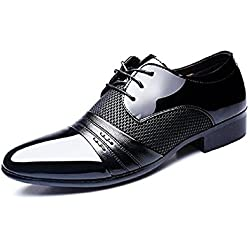 Zapatos Oxford Hombre, Cuero Derby Vestir Cordones Calzado Boda Brogue Verano Negocios Moda Uniforme Negro Marron Rojo 38-48 BK41