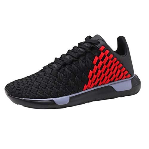 Zilosconcy Zapatillas de Verano de Malla Tejida para Hombres Correas de Suela Gruesa de Deporte Transpirables Zapatos