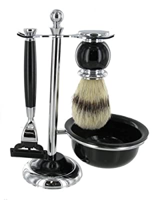 Shaving Set with Bristle Brush and Lathering Bowl in Black and Chrome Finish – Designed to Fit Mach 3 Blades by Sarome UK