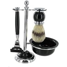 Set de afeitado Mach 3 con brocha de cerdas y elegante bol negro