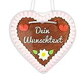 Lebkuchenherz individuell mit eigenem Text beschriftet - rosa-weiß - ca. 12x12cm - nach Wunsch per Hand verziert, so verschenken Sie ein personalisiertes Herzl an Freunde & Bekannte