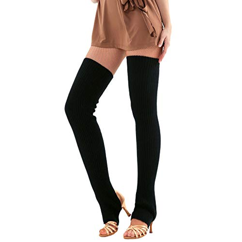 ODJOY-FAN 1 Paar Frau Schenkel Gestrickt Bein Wärmer Yoga Socken Stiefel Abdeckung Damen Halterlose Strümpfe Slouch Socken Wolle Warm Socke 75cm(Schwarz,1 Paar)