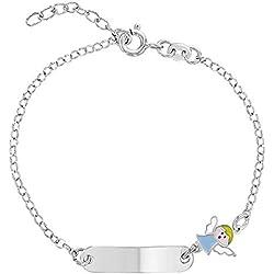 Bracelet en argent sterling 925 avec médaille d'ange gardien religieux pour bébé garçon 15,2 cm