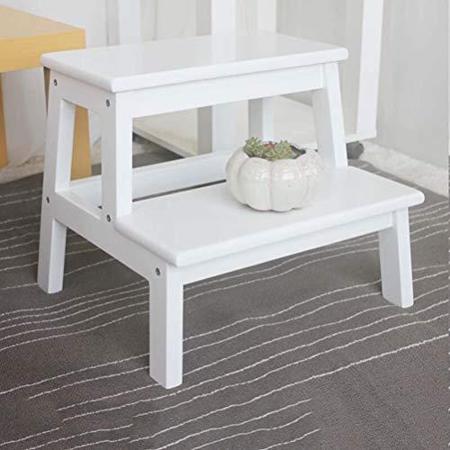Step Stool Wooden - Schritt Hocker Tragbare leichte Leiter Haushaltsregal für Kind Erwachsene, Holz 2 Schritte Welcome (Farbe : Weiß)