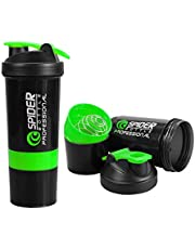 SOUXESpider Protein Shaker 500ml with 2 Storage Extra Compartment for Gym