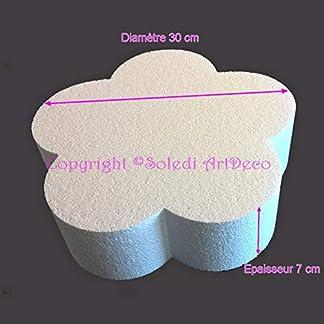 Lealoo – Base Plana de poliestireno 2D, Color Blanco, diámetro 30 cm x Grosor 7 cm, 28 kg/m3, Soporte para Centro de Mesa.