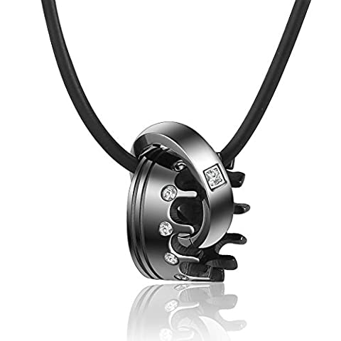 Trendsmax Black Crown Silver Tone Ring Pendant with Rhinestones Women Men Unisex 316L Stainless Steel Pendant Necklace