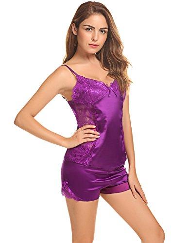 Aibrou Damen Satin Spitze Gehöhlte Schlafanzüge Kurz Rückenfrei Zweiteilige Pyjama Nachtwäsche Set A Violett