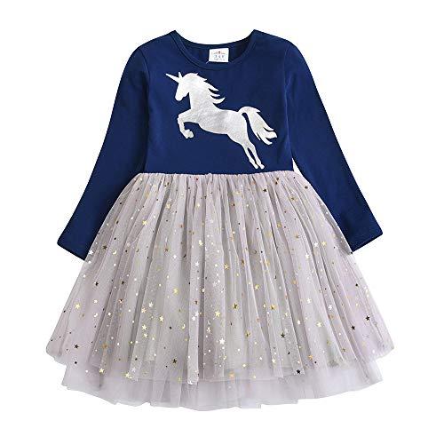 (VIKITA Mädchen Kleid Baumwolle Stickerei Schmetterling Tulle Prinzessin Tutu LH4580navy 6T)