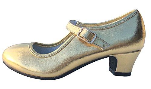 La Senorita Spanische Flamenco Schuhe Prinzessinnen Schuhe Gold (Größe 31 - Innenmaß 20,5 cm)