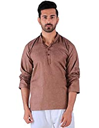 BDS Chikan Cotton Brown Kurta for men's Lucknowi Chikan Work - BDS00912