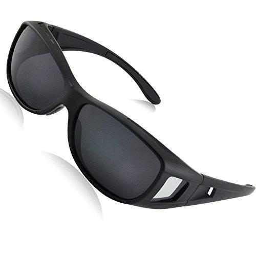 Sonnenbrille Überziehbrille für Brillenträger Brille Herren Damen {Polarisiert Sonnenüberbrille über normale Brillen},UV400 sunglasses Fit Ove Rx Glasses (black3)