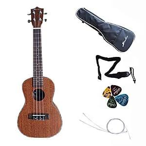 Hanknn - ukulele concert en acajou avec housse / chaîne / sangle duites /