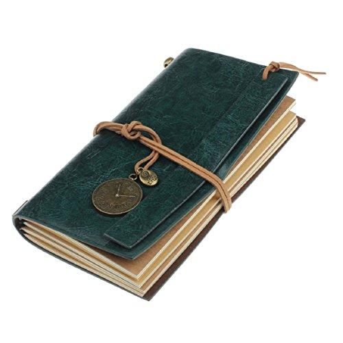 Amonfineshop Retro klassischen Weinlese-Leder-verklemmter Leere Seiten Journal Tagebuch-Notizbuch