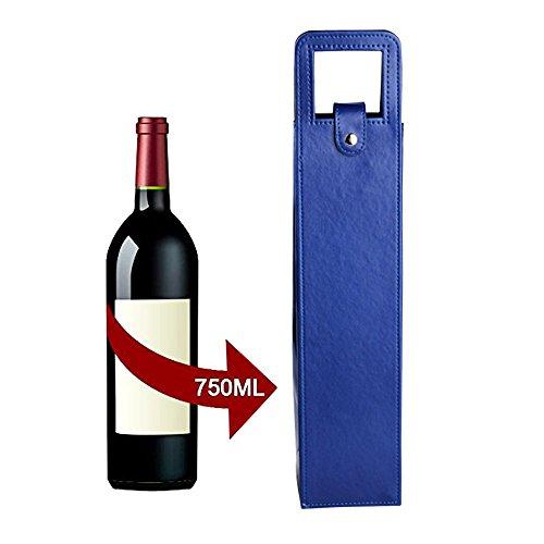 zzoo Wein Tasche, einzelnen Wein & Champagner Flasche isoliert Advanced Beflockung Leder Carrier Fall für Geschenk, Reisen, Picknick und Strand Tage blau