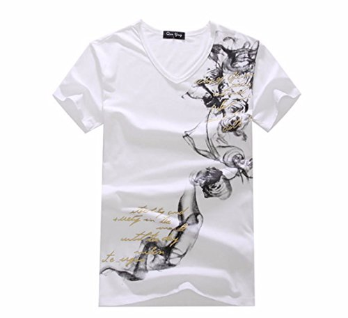 Men's Colorful Chinese Design Printed Cotton Short Sleeve Tee Shirt white