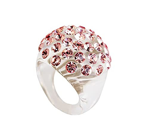 Adreani Perspex clear domed Ring encrusted with crystal stones made with Swarovski totally analergic BioBijoux,Size:P