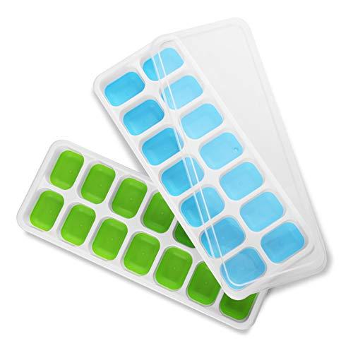 WZOED Eiswürfelschalen mit Deckel, 14-Ice-Schalen mit Spill-resistent abnehmbaren Deckel, 2-Pack Ice Cube Formen für Whisky, Cocktail und andere Getränke (blau & grün) -
