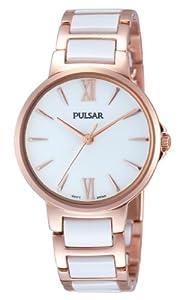 Pulsar Modern - Reloj de cuarzo para mujer, con correa de cerámica, color oro rosa de Pulsar