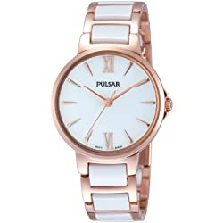 Pulsar Modern - Reloj de cuarzo para mujer, con correa de cerámica, color oro rosa