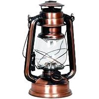 Eaxus 15 LED Laterne im Vintage/Retro Öllampen-Design. Schöne Deko/Dekoration für Garten & Wohnzimmer. Hochwertige Kupfer Bronze Lampe mit schwenkbarem Tragegriff, warmweißes Licht