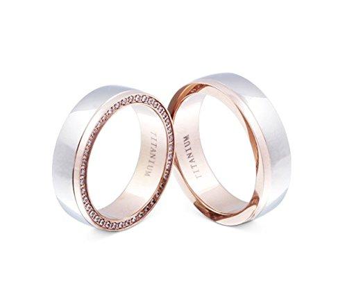 Flame -Ringe 2 Trauringe Titan Rosegold vergoldet Zirkonia mindestens 36 Steine weiss -gratis Gravur T-AT-HD Ehering Stein