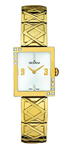 GROVANA 4568.7112 Women's Quartz Swiss Watch with Silver Dial Analogue Display and Gold Stainless Steel Bracelet