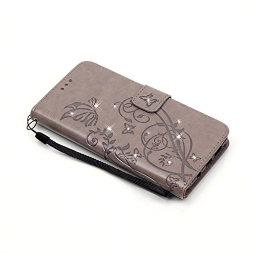 Mk Shop Limited Etui iPhone 5/5S Luxe PU Cuir Coque Housse Portefeuille Dragonne Case Cover de Protection Swag Shell avec Fonction Support Gaufrage Motif avec Diamant pour Apple iPhone 5/5S Multi-couleur 2