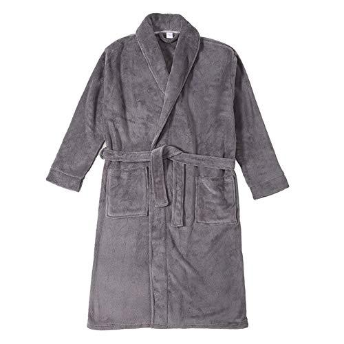Somnia&Restease Herren Fleece-Bademantel Schalkragen Velours Plüsch Kimono Spa Bademantel Warm Bademantel Nachtwäsche Geschenk - Grau - X-Large (Plüsch-kimono)