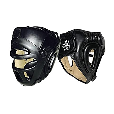D3X Black Leather Boxing MMA Headgear UFC Head Guard with Grill Sparring Helmet Protector Fighting