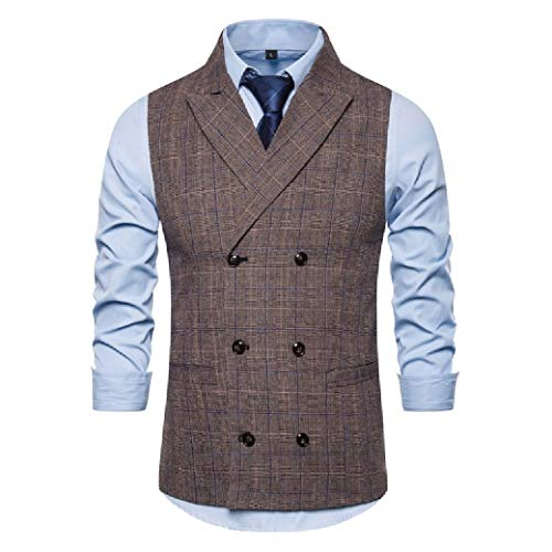 CuteRose Men's Slim Fit Formal Party Sleeveless Classic Double-Breasted Wedding Vest Coffee M Classic Pleated Chino-khaki