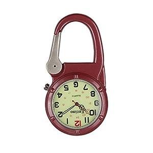 Entino-Marken-Silber-Clip auf Rot Karabiner-leuchtendes Gesicht Starke FOB-Uhr Ärzte Krankenschwestern Sanitäter-Köche Militär Stil