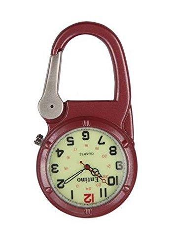 Entino-Marken-Silber-Clip auf Rot Karabiner-leuchtendes Gesicht Starke FOB-Uhr Ärzte Krankenschwestern Sanitäter-Köche Militär Stil (Watch Karabiner)