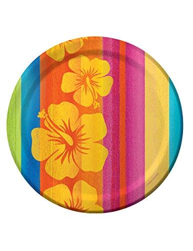 8 Assiettes en carton Hawaii - 23 cm - taille - Taille Unique - 237472