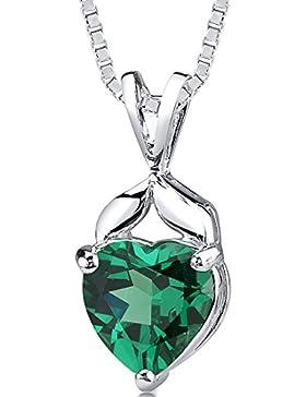 Revoni Damen Halskette 925 Sterling Silber Smaragd 1.91 cm grün PER-SP10736
