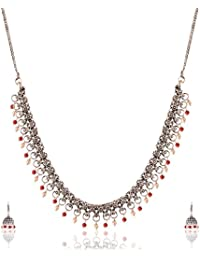 Ganapathy Gems Red Metal Strand Necklace Set For Women (13269)