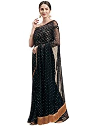 Womanista Women's Georgette with Blouse Piece 7510 Sarees (TI1167_Black_One Size)
