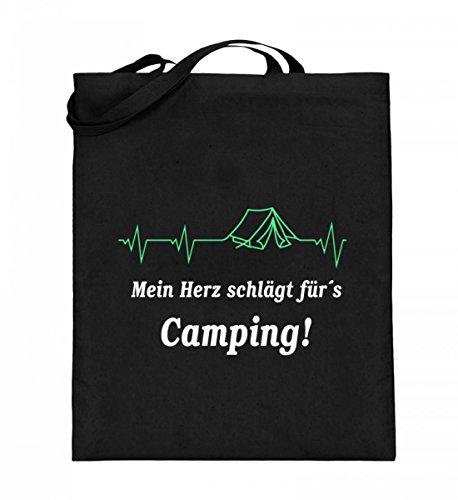 Hochwertiger Jutebeutel (mit langen Henkeln) - Camping Herzschlag Schwarz