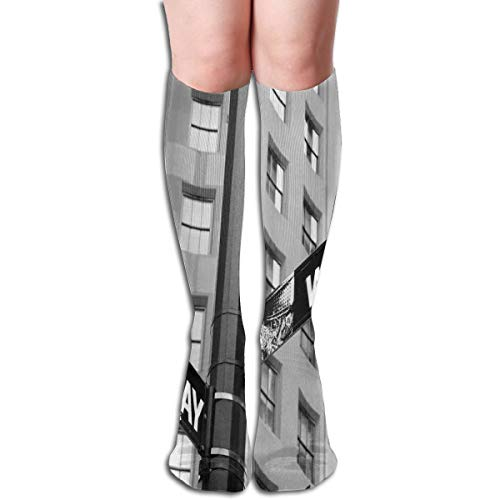 BBABYY Compression Socks Graduated Stockings For Men & Women,Street Signs Of Intersection Of Wall Street And Broadway Finance Art Destinations Photo Theme,Prevents Swelling,Travel,Everyday Use -