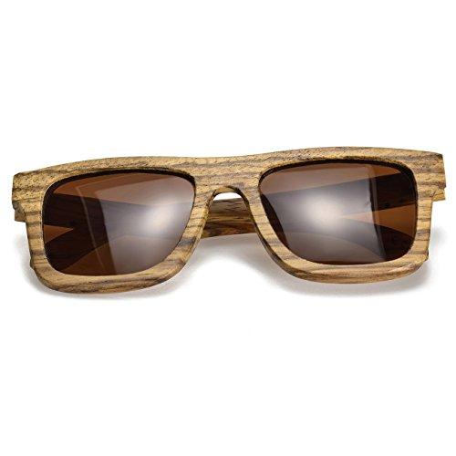 BEWELL G004A Unisex Zebra Holz Sonnenbrille Polarisierte Gläser mit UV400 Schutz Sonnenbrille Holzrahmen Strand Sonnenbrille im Sommer