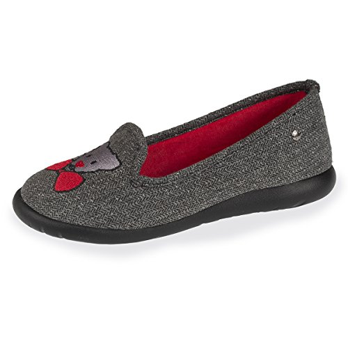 Isotoner Chaussons Slippers Femme Broderie Ultra léger
