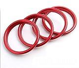 Smartnavi 4 teile / satz Interieur Armaturenbrett Klimaanlage Lüftungsöffnungen Dekoration Trimmen Luftauslass Ring Kreis Auto Styling Edelstahl Aufkleber Für A3 S3 (Rot)
